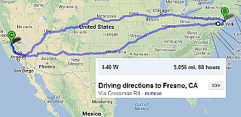 Map of trip between Fresno & New York 5856 miles round trip